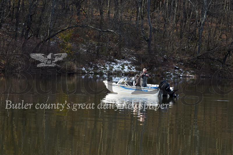 Harold Aughton/Butler Eagle: Jack Anker of Greensburg and Dave Litkovic of Pittsburgh have been fishing Glade Run for the past 30 years and each caught a 15 inch rainbow trout Mon., Nov. 18, 2019.