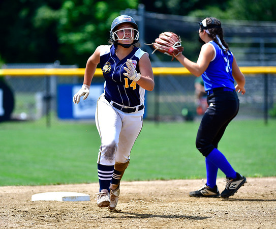 7/25/2019 Mike Orazzi | Staff Connecticut's Mya Dawid (14) during the Eastern Regional Softball Tournament at Breen Field in Bristol on Thursday.