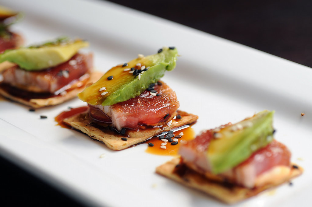 . Ahi Crisps are seared tuna, avocado, ponzu, sliced radish and pepper aioli on crisps.  (Pioneer Press: Scott Takushi)