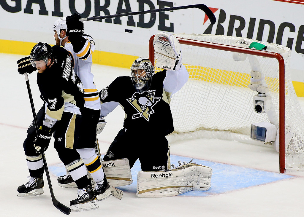 . Marc-Andre Fleury #29 of the Pittsburgh Penguins makes a save against the Boston Bruins during Game Two of the Eastern Conference Final of the 2013 NHL Stanley Cup Playoffs at the Consol Energy Center on June 3, 2013 in Pittsburgh, Pennsylvania.  (Photo by Justin K. Aller/Getty Images)
