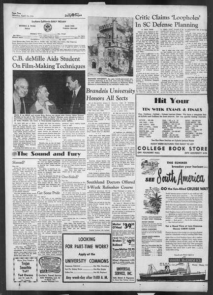 Daily Trojan, Vol. 42, No. 109, April 16, 1951