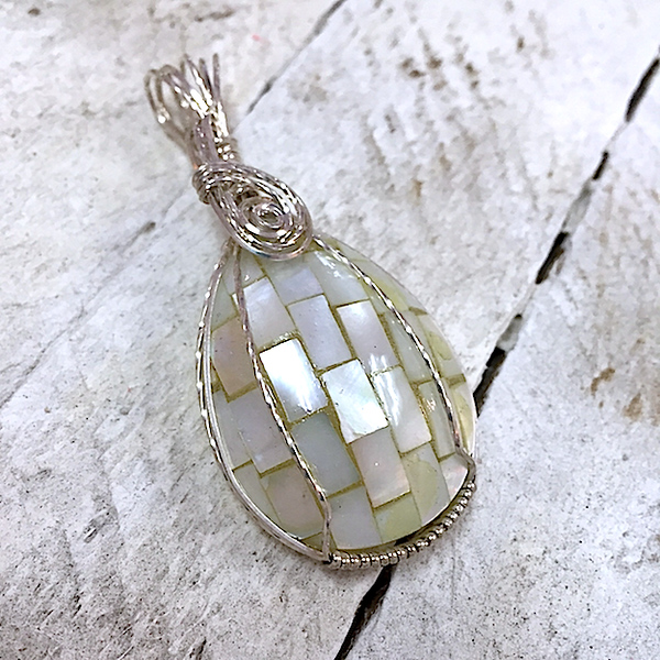 JANIS FLOWERS Sterling Wirewrapped Mother of Pearl Shell Pendant