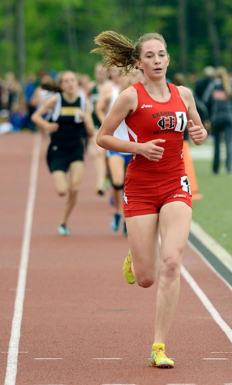 . Maribeth Joeright/MJoeright@News-Herald.com<p> Chardon\'s Rachel Banks easily wins the girls 1600 meter run during the PAC meet at SPiRE Institute, May 15, 2014.