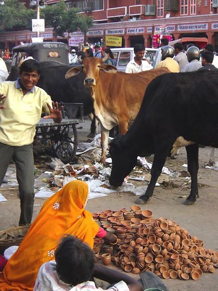 woman selling Devali clay lanterns, Jaipur