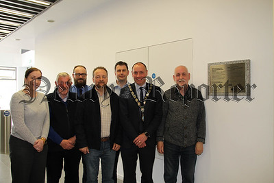 PLAQUE UNVEILED IN NEWRY LEISURE CENTRE TO MARK THE FORMER FRANK CURRAN PARK