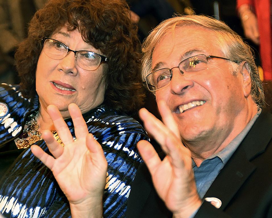. Former Pasadena City Hall Public Relations Ann Erdman with Terry Tornek during election night at Pasadena City Hall. (Photo by Walt Mancini/Pasadena Star-News)