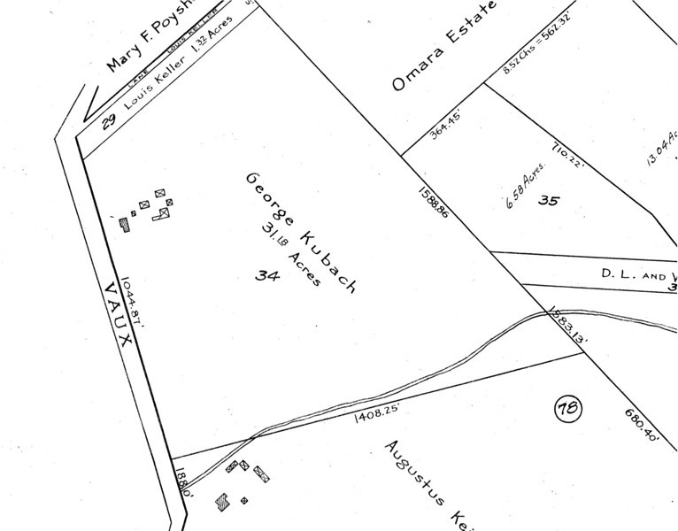 1916 tax map showing the Kubach property and building locations where the parking lot for Lincoln Tech at the end of Hendricks Court is today.