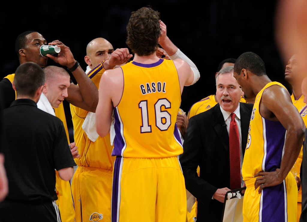 . Lakers Head Coach Mike D\'Antoni during an officials time-out in the first quarter. The Lakers faced the Houston Rockets in the final home game of the year at Staples Center in Los Angeles, CA 4/17/2013(John McCoy/Los Angeles Daily News)