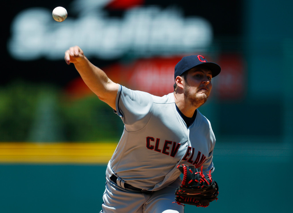 . Cleveland Indians starting pitcher Trevor Bauer delivers a pitch to Colorado Rockies\' DJ LeMahieu in the first inning of an interleague baseball game Wednesday, June 7, 2017, in Denver. (AP Photo/David Zalubowski)