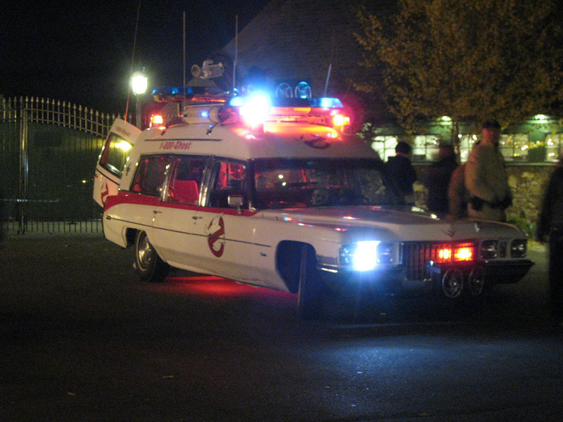 The Ghostbusters Ecto-1 vehicle.
