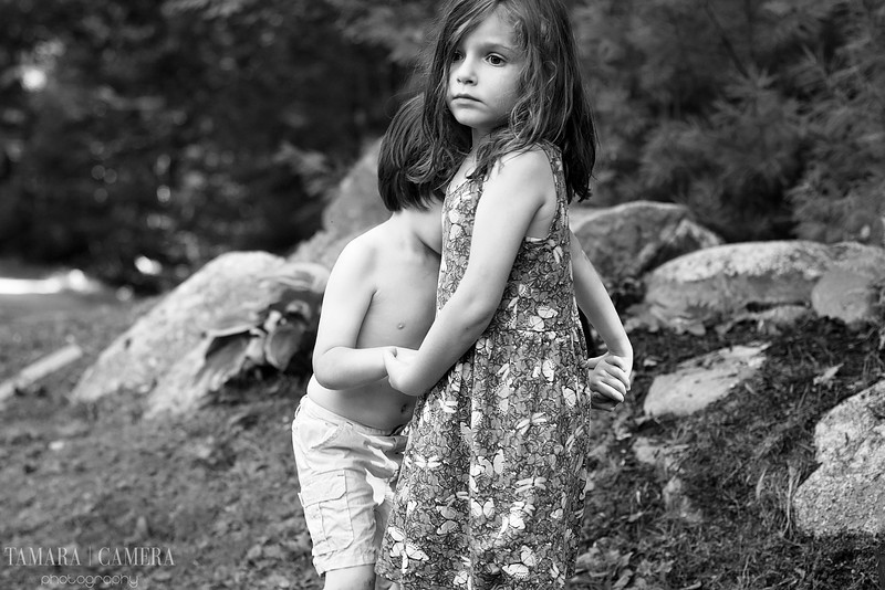 black and white photo of boy and girl