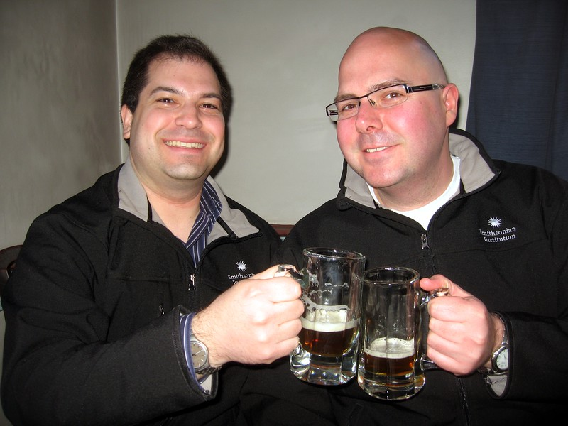 Craig (l) and DJ enjoy Thomas Jefferson's Tavern Ale (made from his original recipe), at the Gadsby's Tavern Museum (3/27/11)