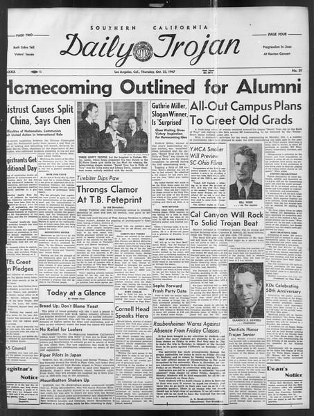 Daily Trojan, Vol. 39, No. 29, October 23, 1947