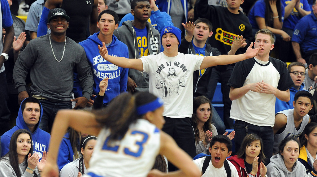 . Bishop Amat fans upset in the second half of a CIF State Southern California Regional semifinal basketball game against Long Beach Poly at Bishop Amat High School on Tuesday, March 12, 2013 in La Puente, Calif. Long Beach Poly won 52-34.  (Keith Birmingham Pasadena Star-News)