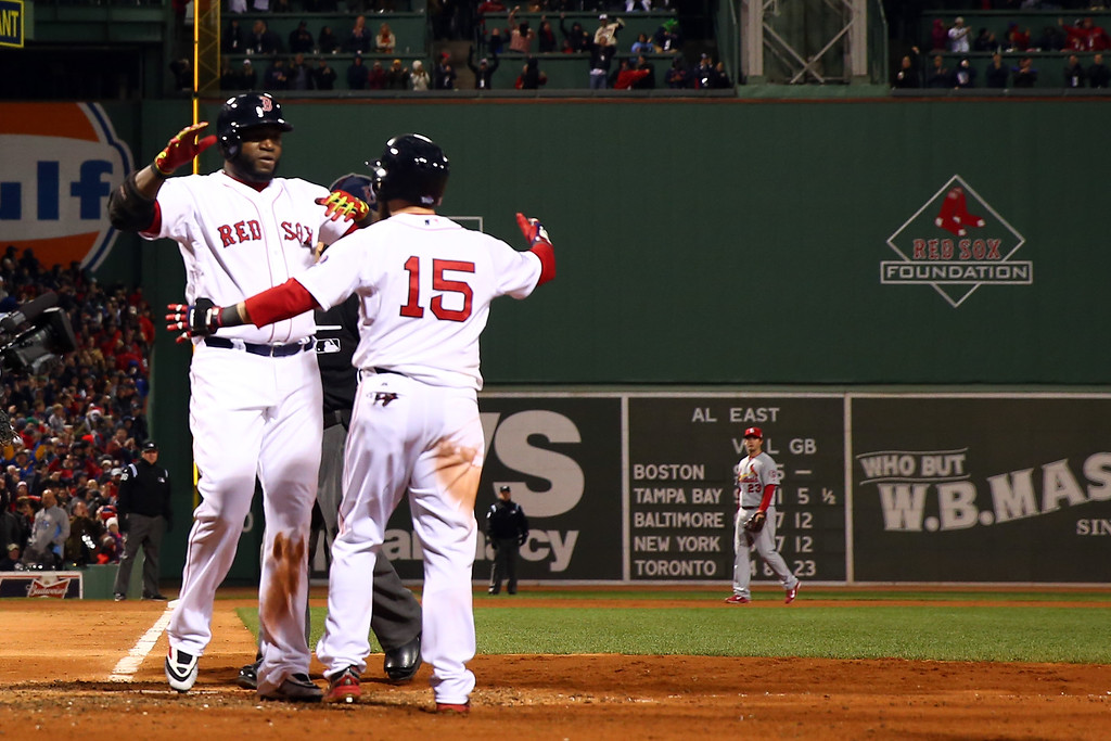 . BOSTON, MA - OCTOBER 24:  David Ortiz #34 of the Boston Red Sox celebrates with Dustin Pedroia #15 after hitting a two run home run in the sixth inning against the St. Louis Cardinals during Game Two of the 2013 World Series at Fenway Park on October 24, 2013 in Boston, Massachusetts.  (Photo by Rob Carr/Getty Images)
