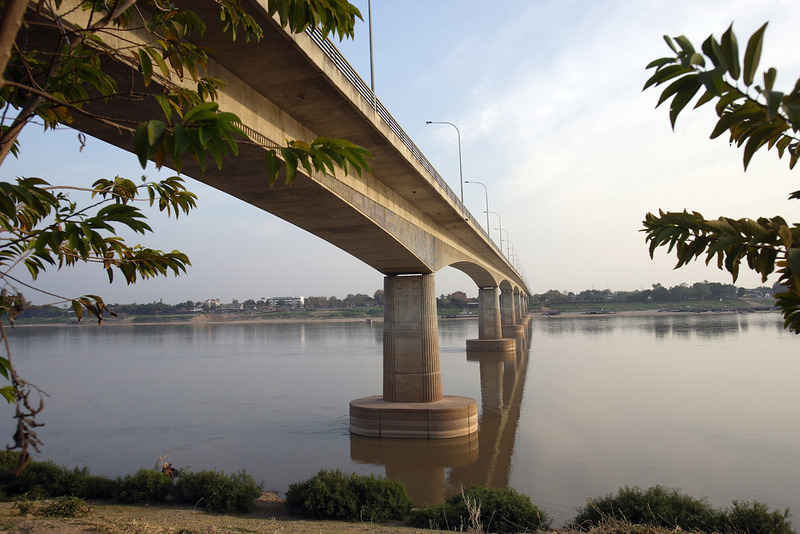 The Friendship bridge built with Australian funding and completed and opened in 1994, crossing the Mekong River and connecting Thailand to Laos.