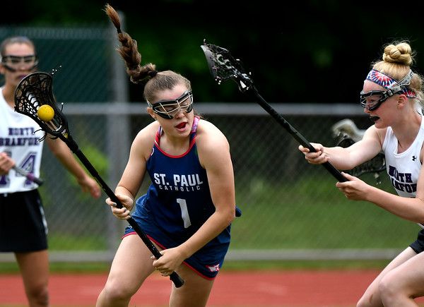 5/31/2018 Mike Orazzi | Staff St. Paul Catholic High School's Emma Cretella (1) during the girls Class S Quarterfinals lacrosse with North Branford at North Branford High School Thursday evening.