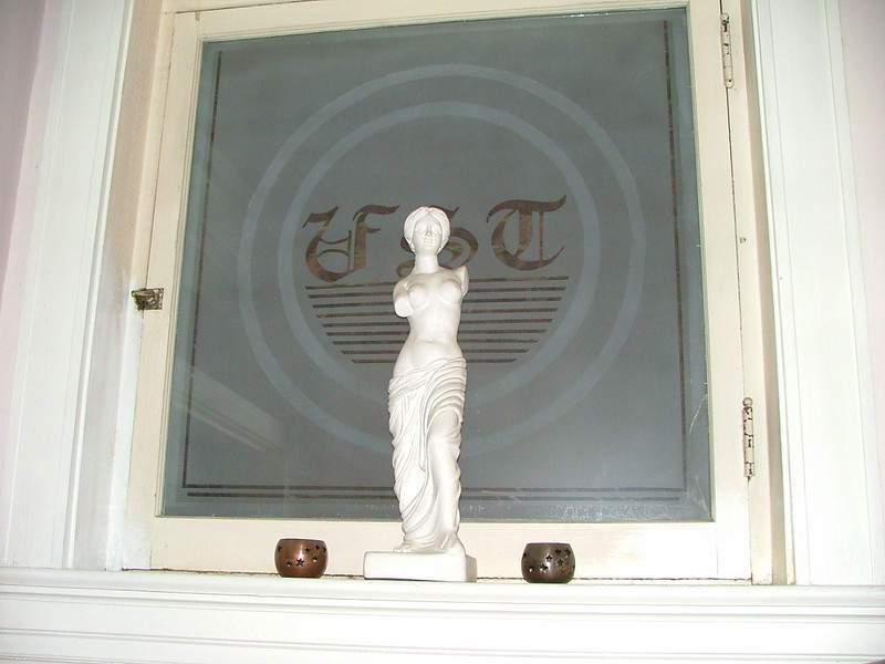 Statue, etched glass