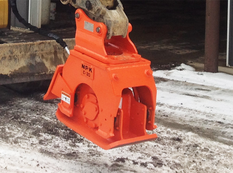 NPK C3D compactor with backfill blade on Cat mini excavator (8).jpg