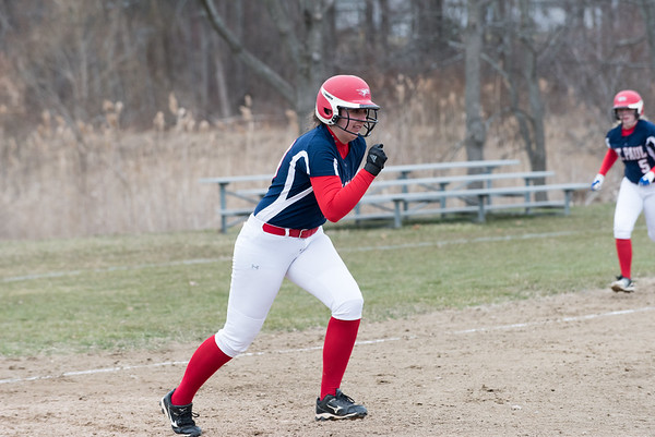 04/02/19 Wesley Bunnell | Staff St. Paul softball defeated Ansonia at home on Tuesday afternoon. Rebecca Nerbonne (10)