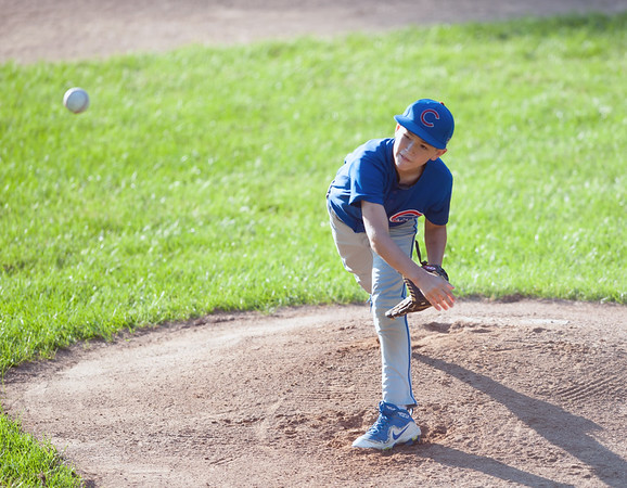 08/23/18 Wesley Bunnell | Staff The Forestville Pirates vs the Edgewood Cubs in the Bristol Little League City Series on Thursday evening at Frazier Field. Cubs pitcher Kamden Laprise (1).