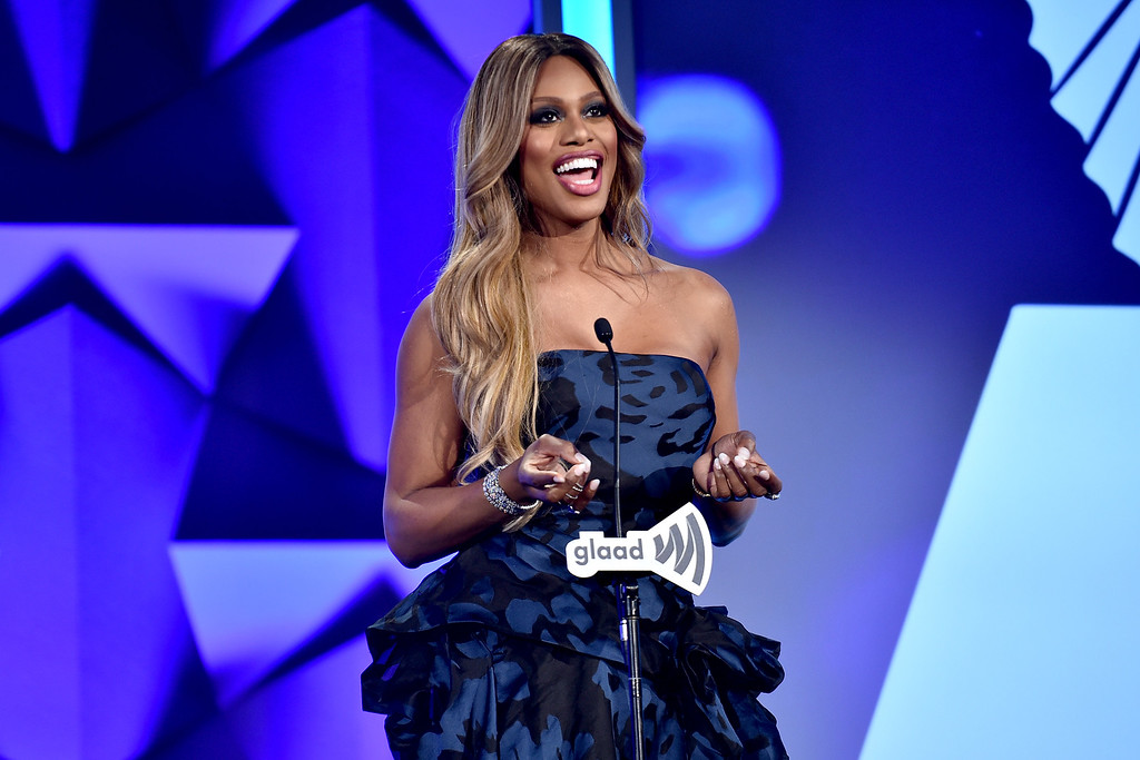 . Actress Laverne Cox speaks onstage at the 27th Annual GLAAD Media Awards in New York on May 14, 2016 in New York City.  (Photo by Dimitrios Kambouris/Getty Images for GLAAD)