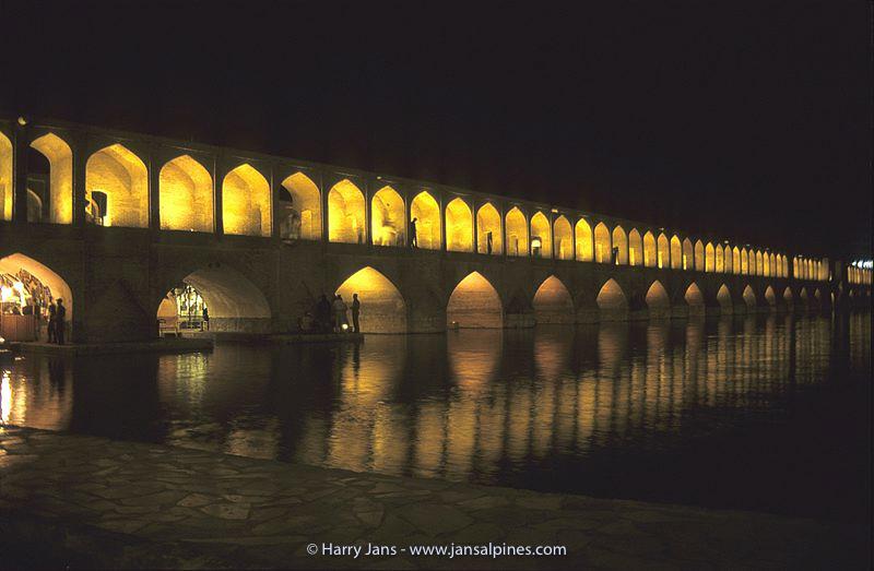 Sio Seh Bridge by night in Esfahan