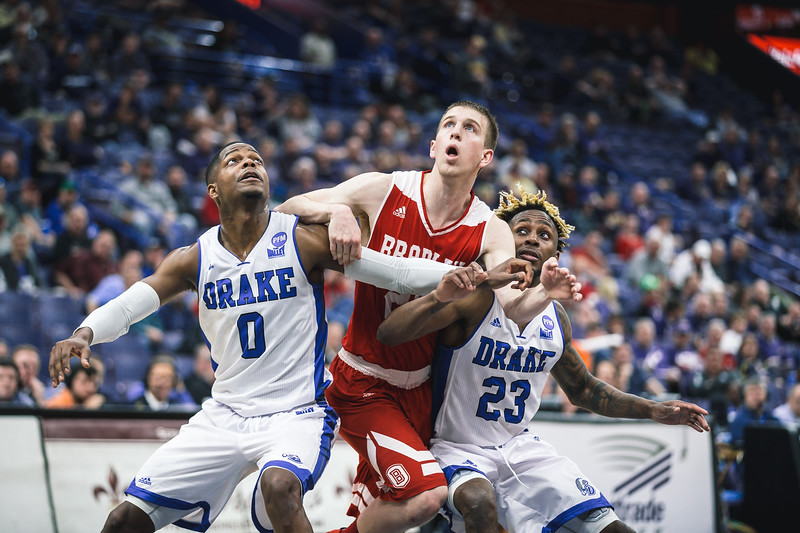 Drake takes on Bradley during Arch Madness on Friday, March 2, 2018 at the Scottrade Center in St. Louis, Missouri