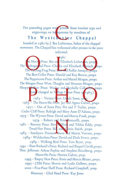 Colophon, 2001, Unknown