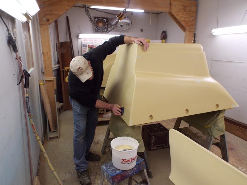 Wet sanding the final coat of primer on the engine box.