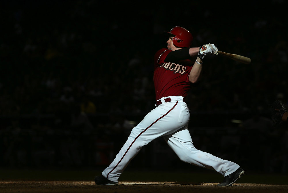 . Tuffy Gosewisch #9 of the Arizona Diamondbacks bats against the Colorado Rockies during the tenth inning of the MLB game at Chase Field on August 10, 2014 in Phoenix, Arizona. The Rockies defeated the Diamondbacks 5-3 in 10 innings.  (Photo by Christian Petersen/Getty Images)