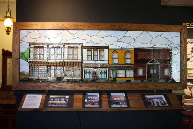 Stained Glass of downtown  -- in Petoskey Historical Museum