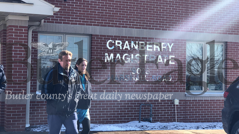 David W. Lohr leaves the magistrate building in Cranberry Township on Friday following a hearing. Photo by J.W. Johnson Jr.