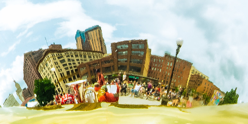 The St. Paul Skyline reflected in one of the Brio Brass Tubas.