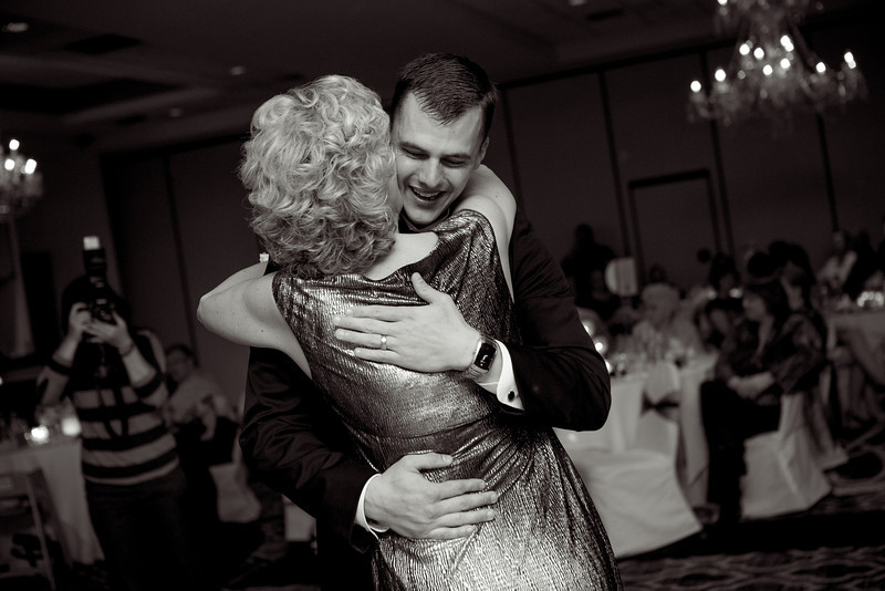 Wedding reception at the Radisson Hotel in Rockford, IL. Wedding photographer - Ryan Davis Photography - Rockford, Illinois.