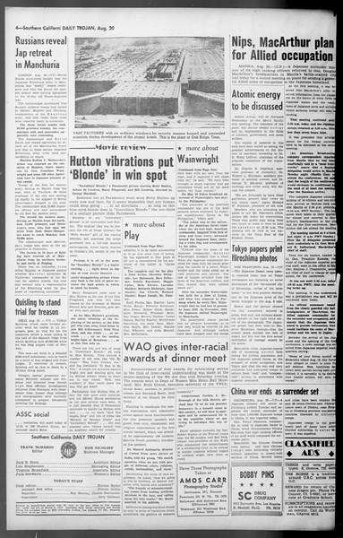 Daily Trojan, Vol. 36, No. 181, August 20, 1945