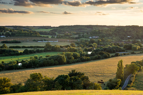 Lines in the landscape at Goring Gap in the Chiltern Hills