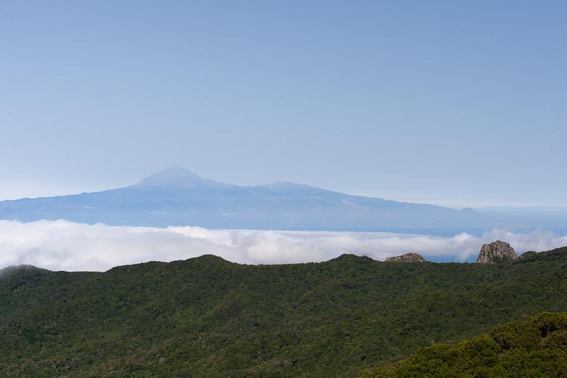 Fog spilling over the mountain in La Gomera, Spain