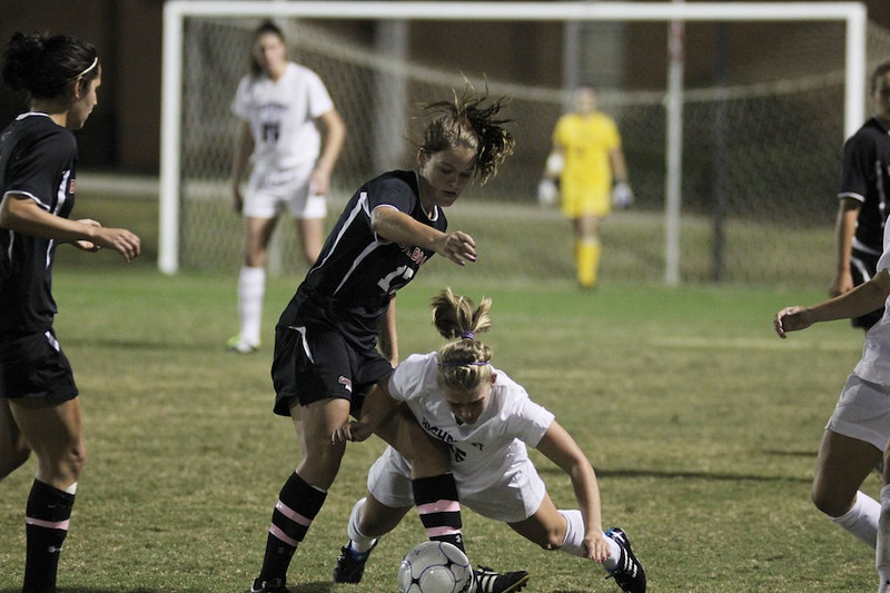 Meagan Reynolds, 17, fights for the ball.
