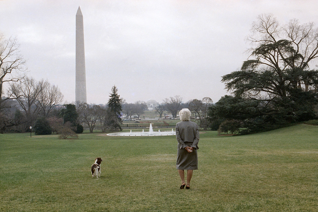 . On a sunny but cold day first lady Barbara Bush strolls on the White House South Lawn in Washington with the family dog, Millie, Feb. 8, 1989. The Washington Monument and the Jefferson Memorial can be seen in the background. (AP Photo/Barry Thumma)