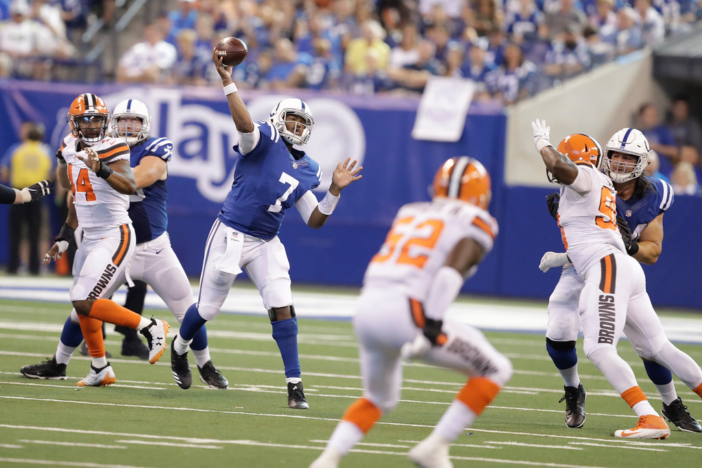 . Indianapolis Colts quarterback Jacoby Brissett (7) throw against the Cleveland Browns during the second half of an NFL football game in Indianapolis, Sunday, Sept. 24, 2017. (AP Photo/Darron Cummings)