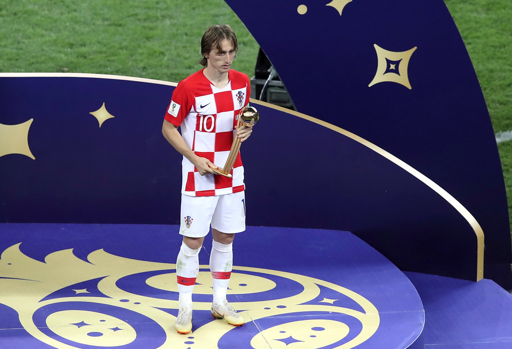 . Croatia\'s Luka Modric holds his Golden Ball award at the end of the final match between France and Croatia at the 2018 soccer World Cup in the Luzhniki Stadium in Moscow, Russia, Sunday, July 15, 2018. (AP Photo/Thanassis Stavrakis)