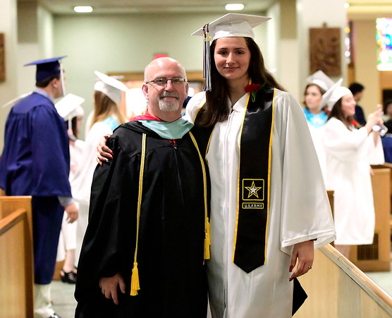6/4/2019 Mike Orazzi | Staff St. Paul's Larry Duffany and his daughter Hannah during commencement exercises at the Cathedral of Saint Joseph in Hartford Tuesday evening.