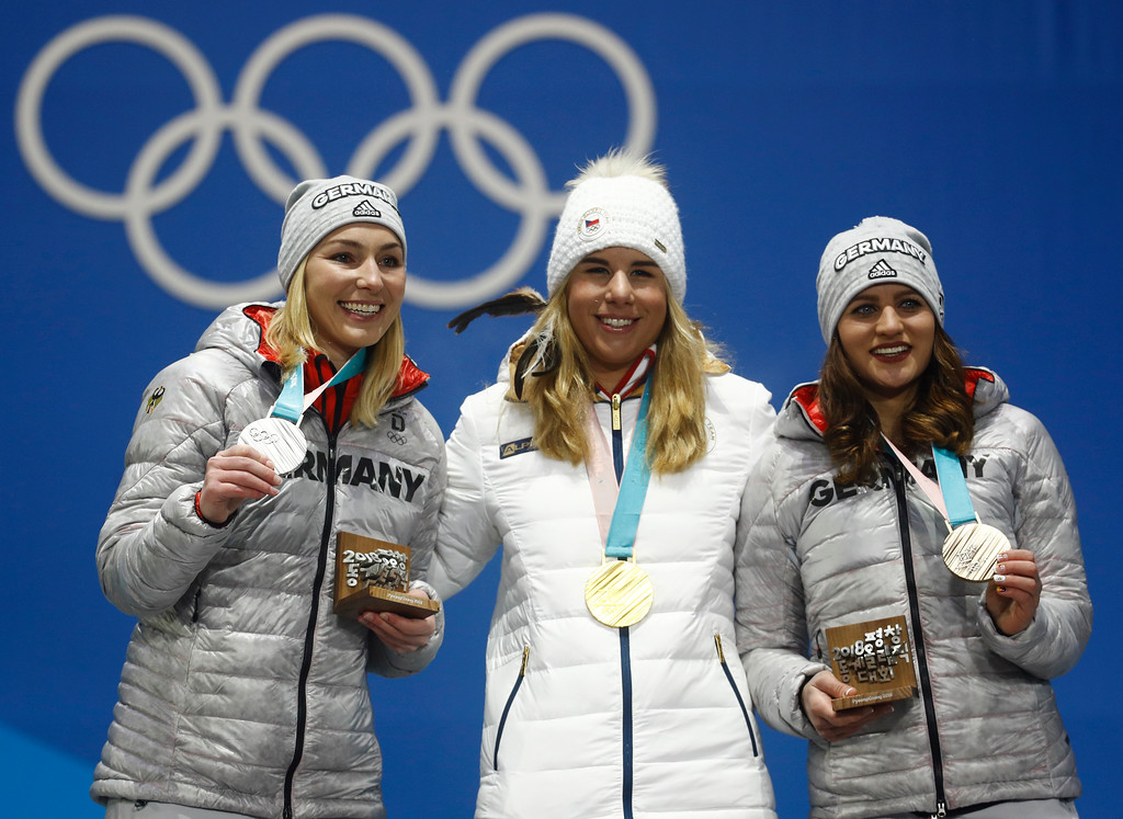 . Medalists in the women\'s parallel giant slalom from left Germany\'s Selina Joerg, silver, the Czech Republic\'s Ester Ledecka, gold, and Germany\'s Ramona Theresia Hofmeister, bronze, pose during their medals ceremony at the 2018 Winter Olympics in Pyeongchang, South Korea, Saturday, Feb. 24, 2018. (AP Photo/Patrick Semansky)