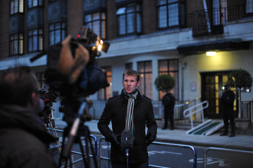 . A broadcast journalist works outside the King Edward VII hospital in central London on December 7, 2012 after nurse Jacintha Saldanha was found dead at a property close by. A nurse at the hospital which treated Prince William\'s pregnant wife Catherine, Duchess of Cambridge, was found dead on December 7, days after being duped by a hoax call from an Australian radio station, the hospital said. Police said they were treating the death, which happened at a property near the hospital, as unexplained.  CARL COURT/AFP/Getty Images
