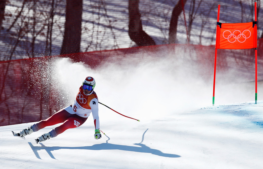 . Switzerland\'s Beat Feuz skis during the men\'s downhill at the 2018 Winter Olympics in Jeongseon, South Korea, Thursday, Feb. 15, 2018. (AP Photo/Patrick Semansky)