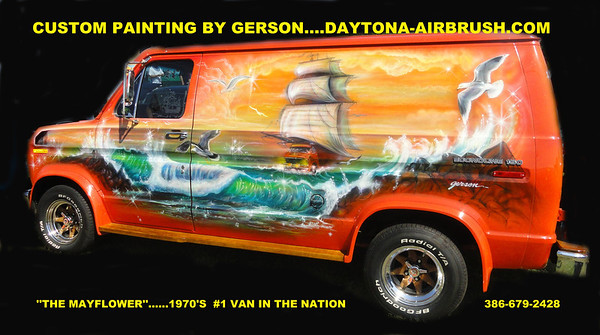 THE MAYFLOWER VAN   PAINTED BY GERSON