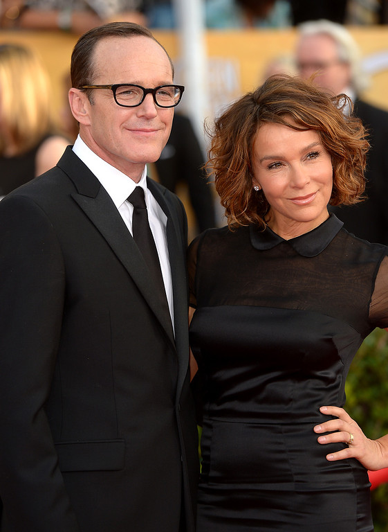 . Clark Gregg and Jennifer Grey arrives at the 20th Annual Screen Actors Guild Awards  at the Shrine Auditorium in Los Angeles, California on Saturday January 18, 2014 (Photo by Michael Owen Baker / Los Angeles Daily News)