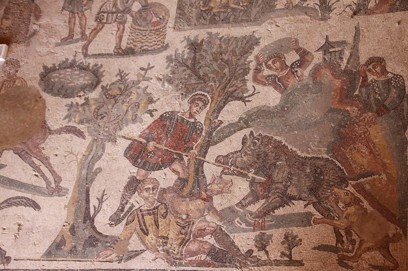 Roman mosaic hunting scene