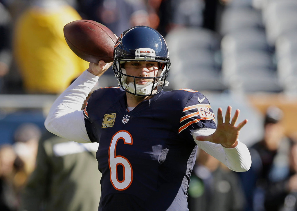 . Chicago Bears quarterback Jay Cutler (6) warms up before an NFL football game against the Detroit Lions, Sunday, Nov. 10, 2013, in Chicago. (AP Photo/Nam Y. Huh)